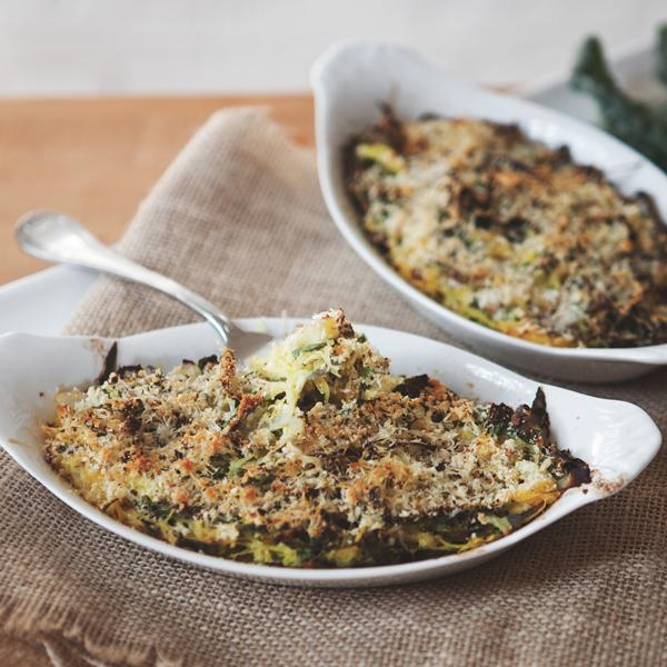 Spaghetti Squash + Kale Gratin