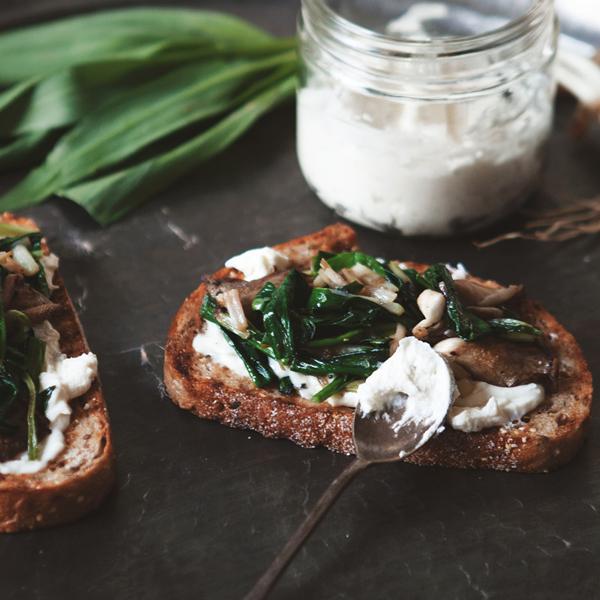 Ramp, Mushroom + Ricotta Tartine