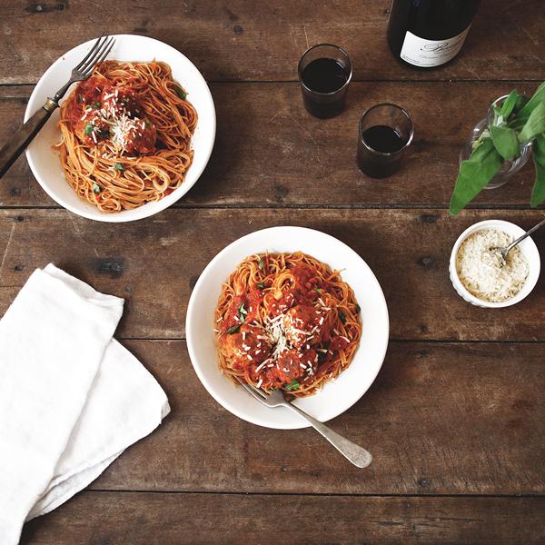 Sage Basil Meatballs + Tomato Sauce