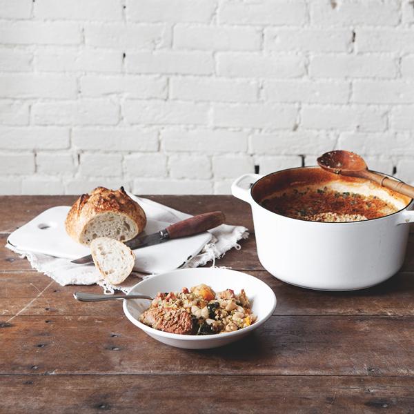Cassoulet with Squash, Bacon, Kale