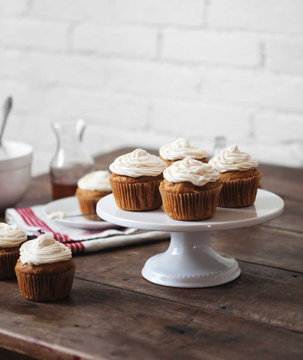 Pumpkin Spice Cupcakes With Maple Bourbon Cream Cheese