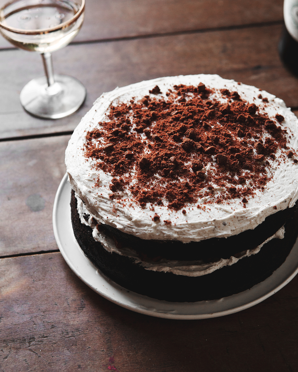 Chocolate Birthday Cake With Espresso Bourbon Frosting Cookie