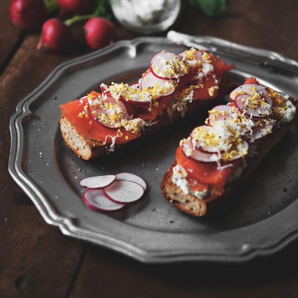Smoked Salmon + Radish Tartine