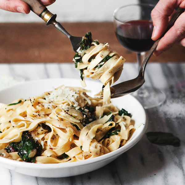 Fettuccine with Caramelized Onions