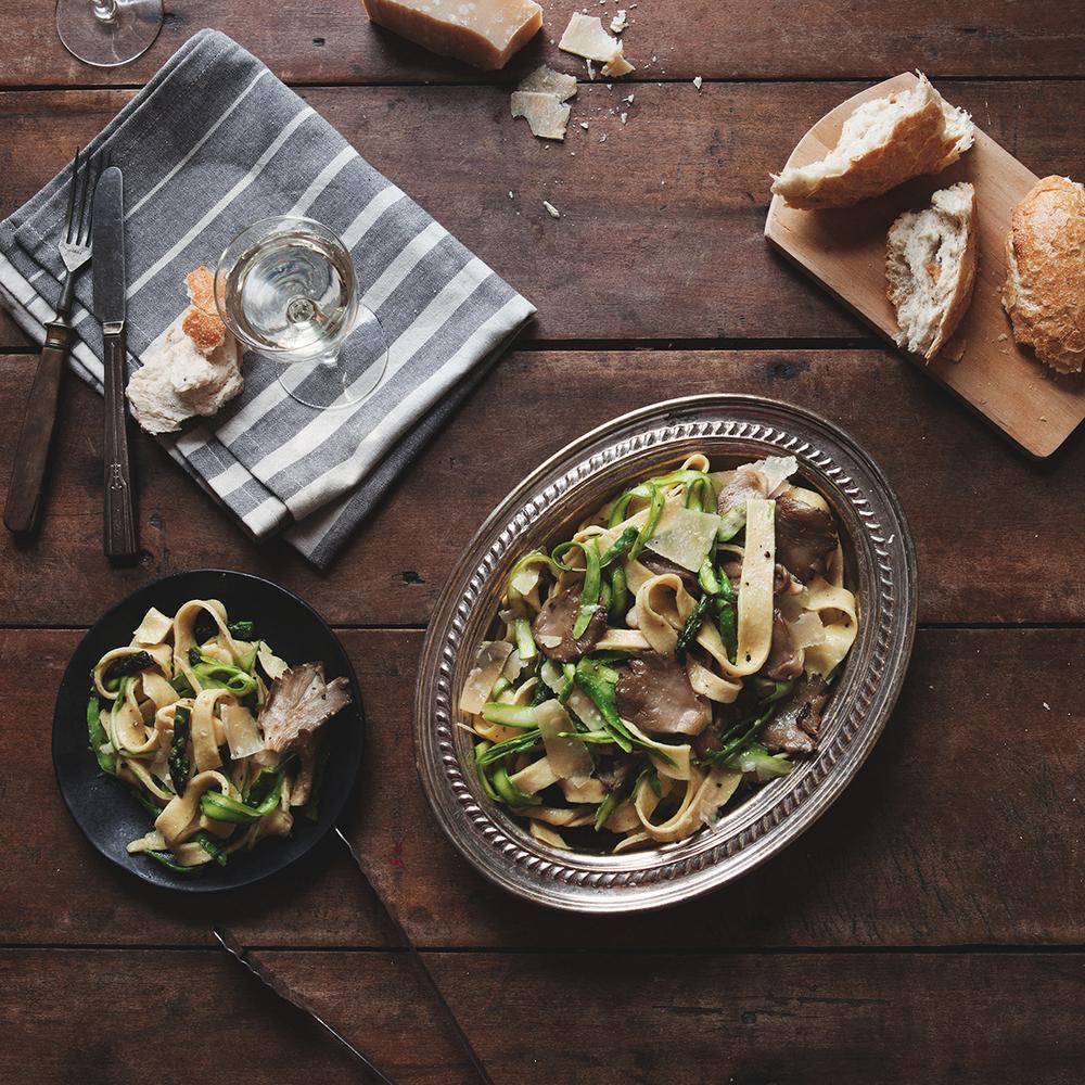Spring Asparagus + Mushroom Pasta