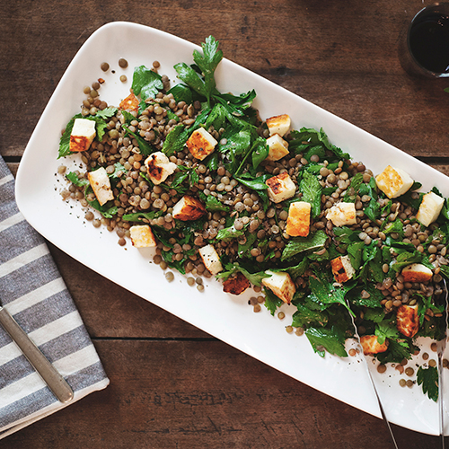 Lentil, Herb + Halloumi Salad