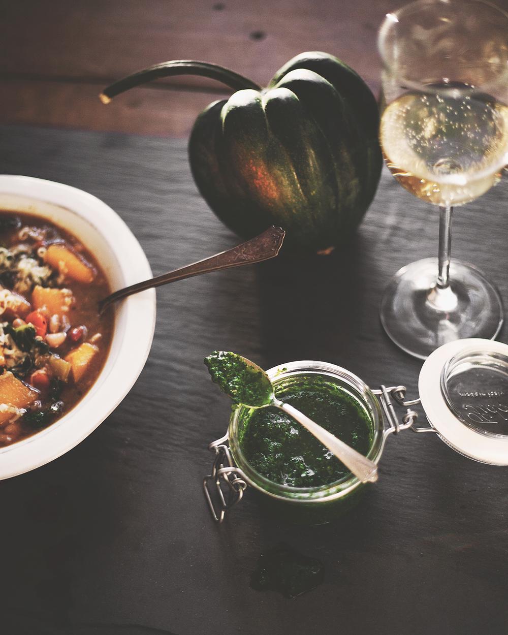 Bean and Acorn Squash Soup with Kale, Gruyere + Parsley Pistou — a ...