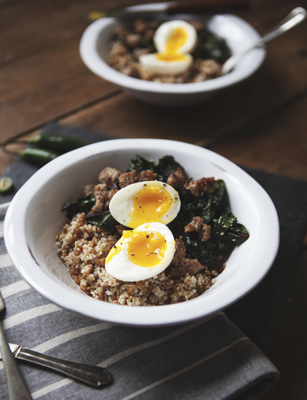 Savory Winter Breakfast Bowl with Sausage, Swiss Chard, Wheat Berry ...