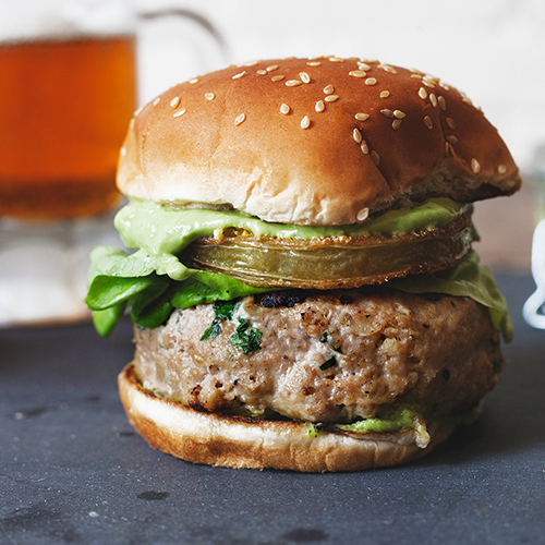 Fried Green Tomato Turkey Burgers With Green Goddess Dressing