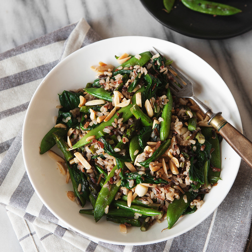Wild Rice Bowl with Ramps, Asparagus + Snap Peas