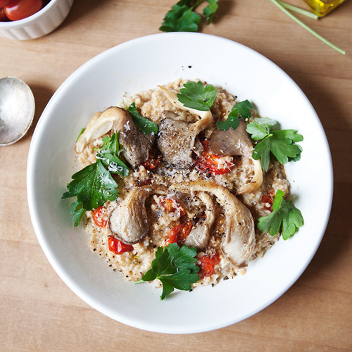 Savory Oatmeal With Roasted Tomatoes + Oyster Mushrooms