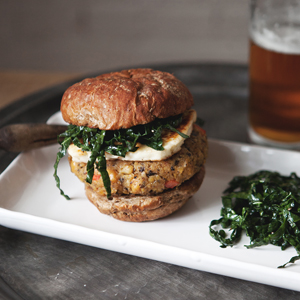 Chickpea Veggie Burger With Fried Halloumi