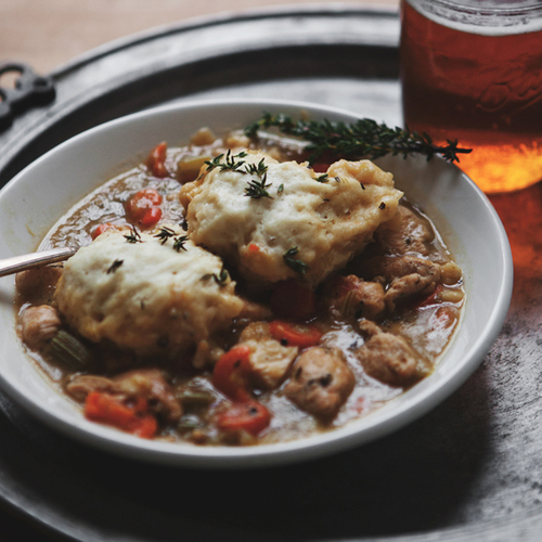 Chicken And Dumplings With Leeks