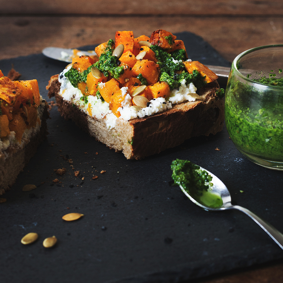 roasted butternut squash tartine on rye with fresh ricotta + pumpkin seed pesto