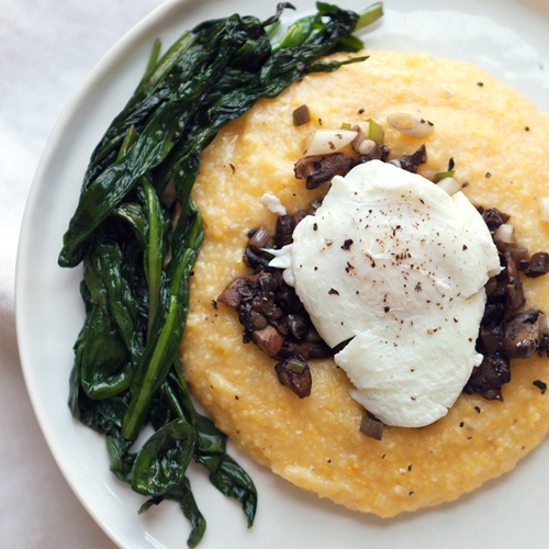 breakfast polenta with wild ramps + mushrooms