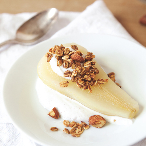 poached pears with walnut granola + cinnamon greek yogurt
