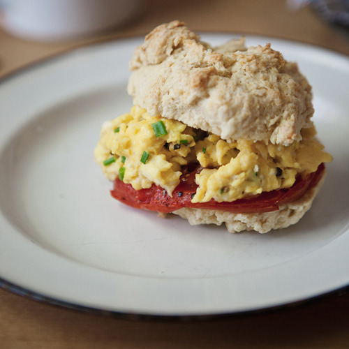 roasted tomato + chive scrambled egg breakfast sandwich