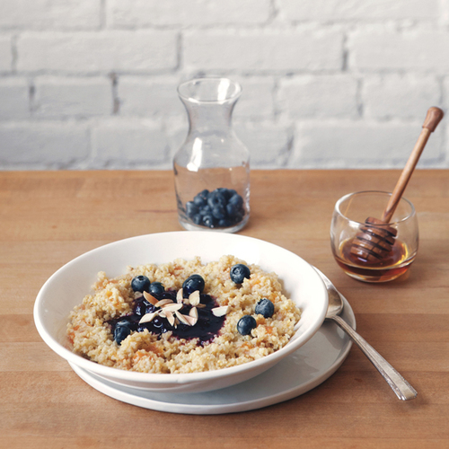 honey apricot millet with blueberry compote + toasted almonds