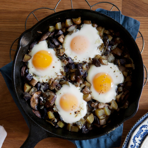potato, mushroom + cipollini hash with gruyere and baked eggs