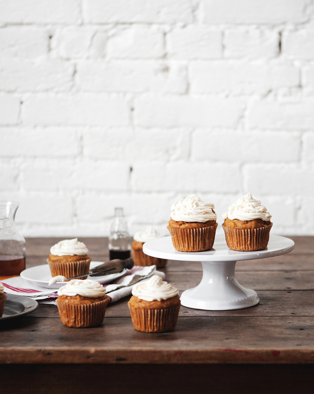 Pumpkin Spice Cupcakes with Maple Bourbon Cream Cheese Frosting