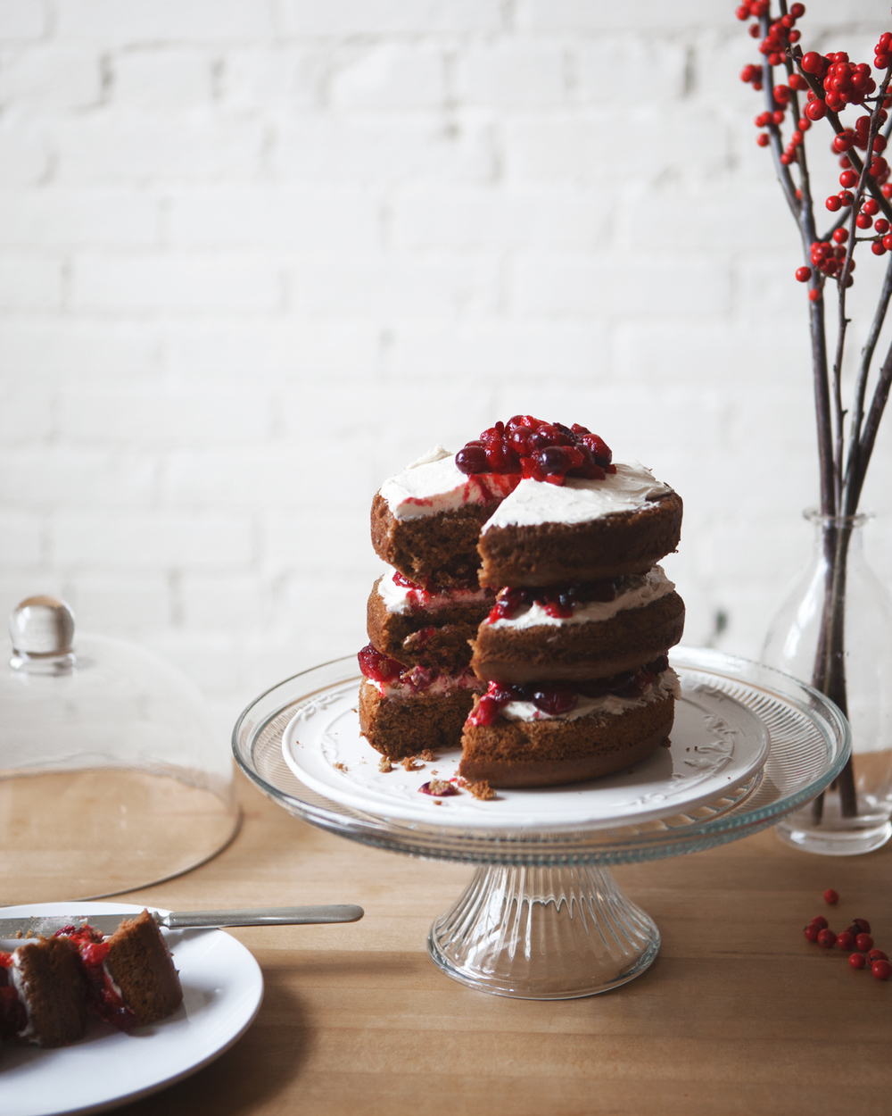 Gingerbread Cake with Cranberry Cream