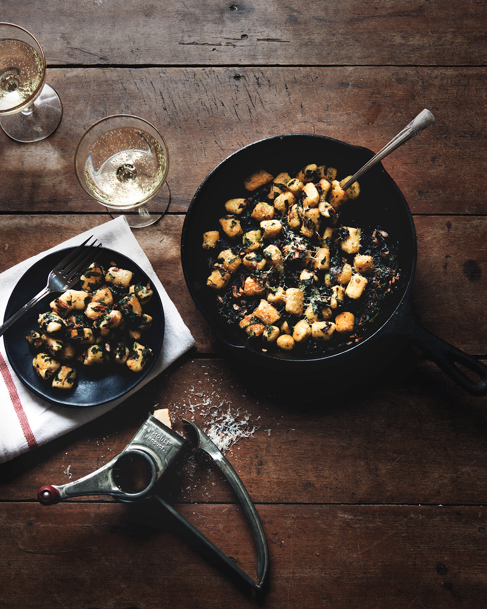 Parisian Gnocchi with Chard and Mushrooms