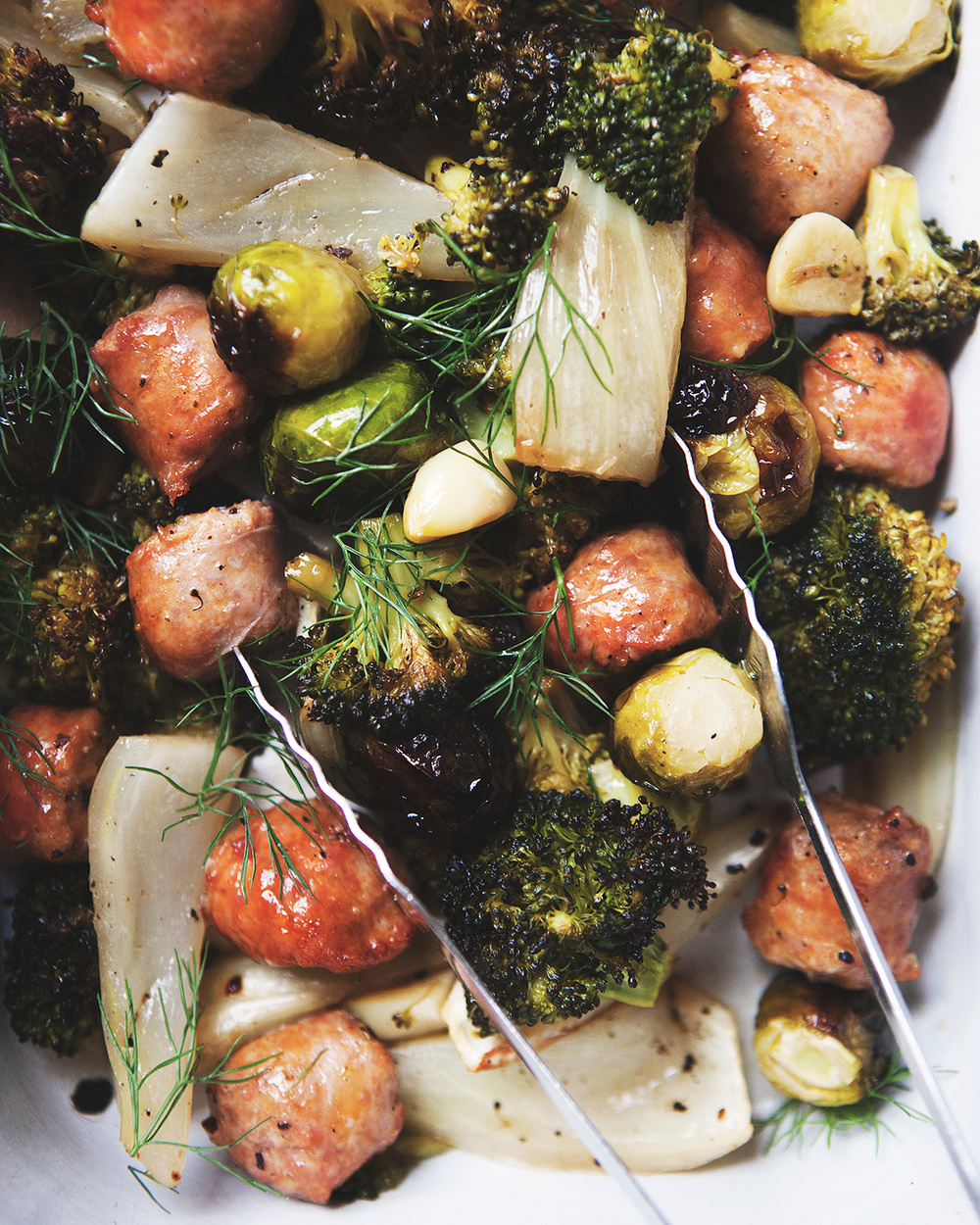 simple roasted fennel and sausage with brussels sprouts and broccoli