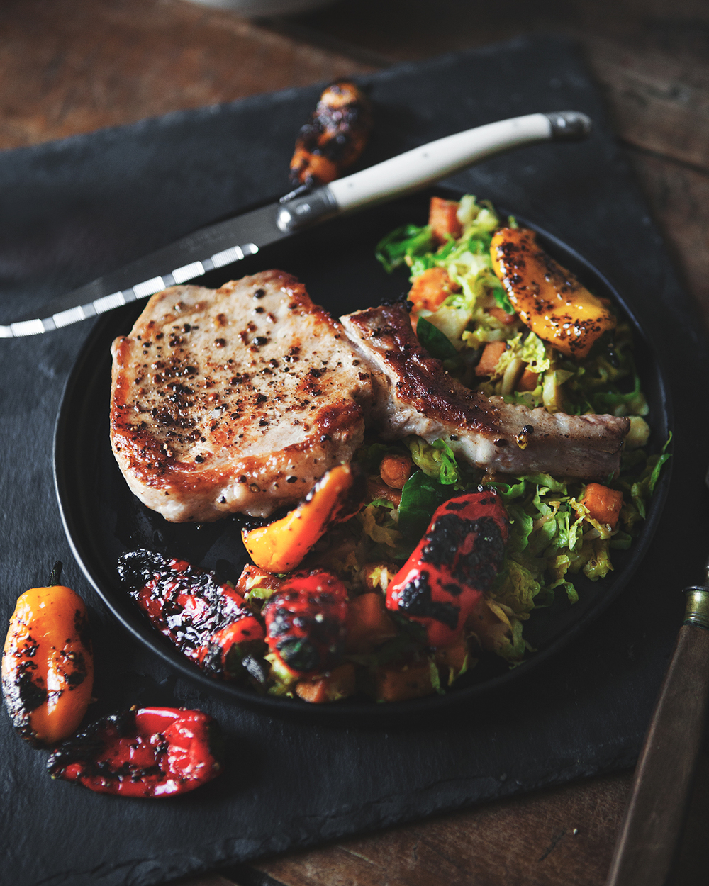 Brown Butter Pork Chops with Sweet Potato Brussels Sprouts Hash and Roasted Peppers