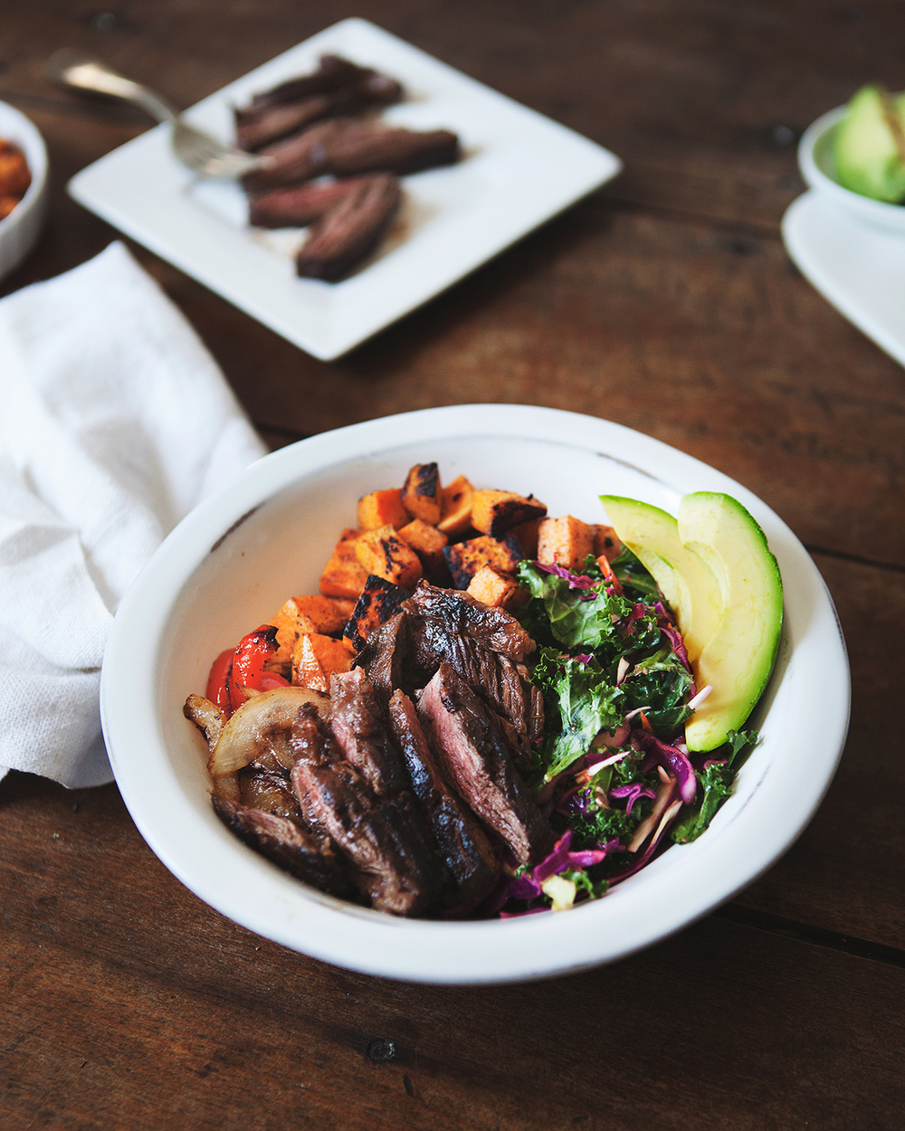Charred Sweet Potato and Steak Taco Bowl