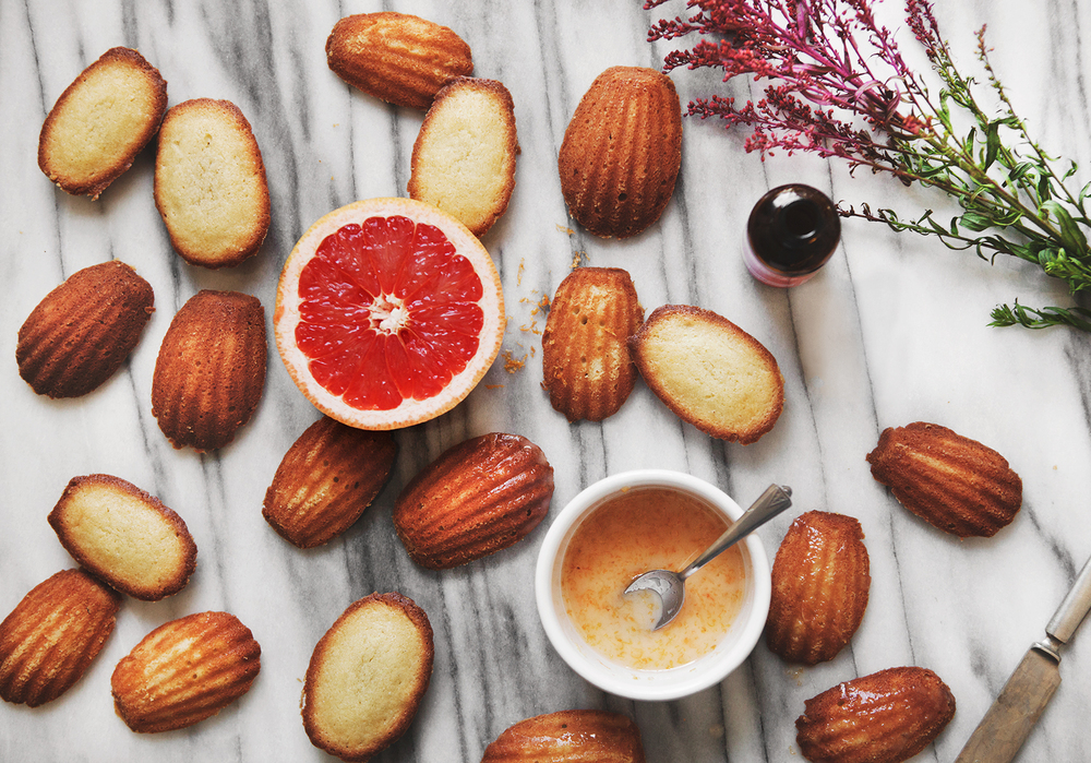 Honey Rose Madeleines with Grapefruit Drizzle (Gluten-Free)