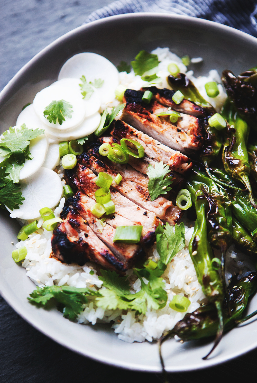 Thai Ginger Grilled Pork Rice Bowl with Charred Shishito ...