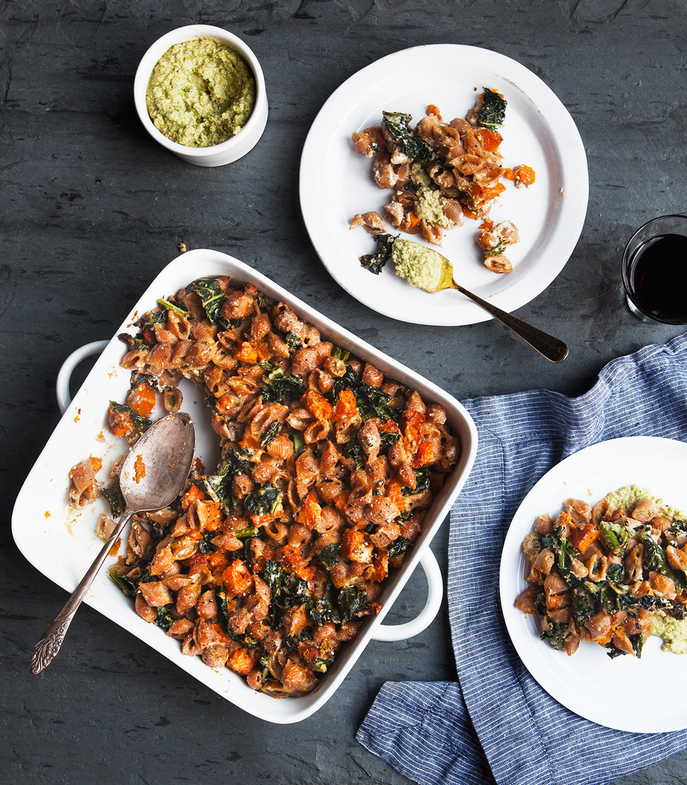 Fall Pasta Bake with Butternut Squash and Brussels Sprout Walnut Pesto