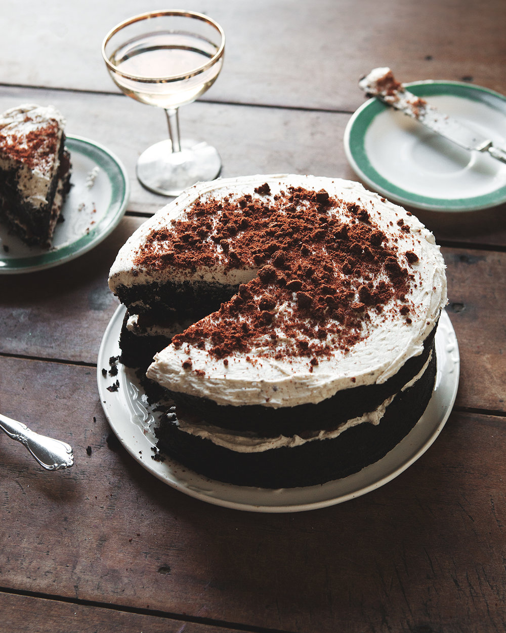 Chocolate Birthday Cake with Espresso Bourbon Frosting + Cookie Crumbles