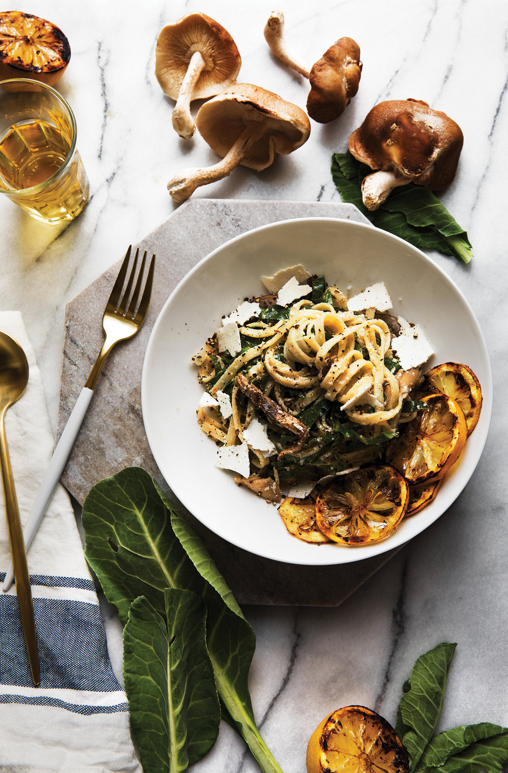 Grilled Lemon + Collard Green Pasta with Mushrooms