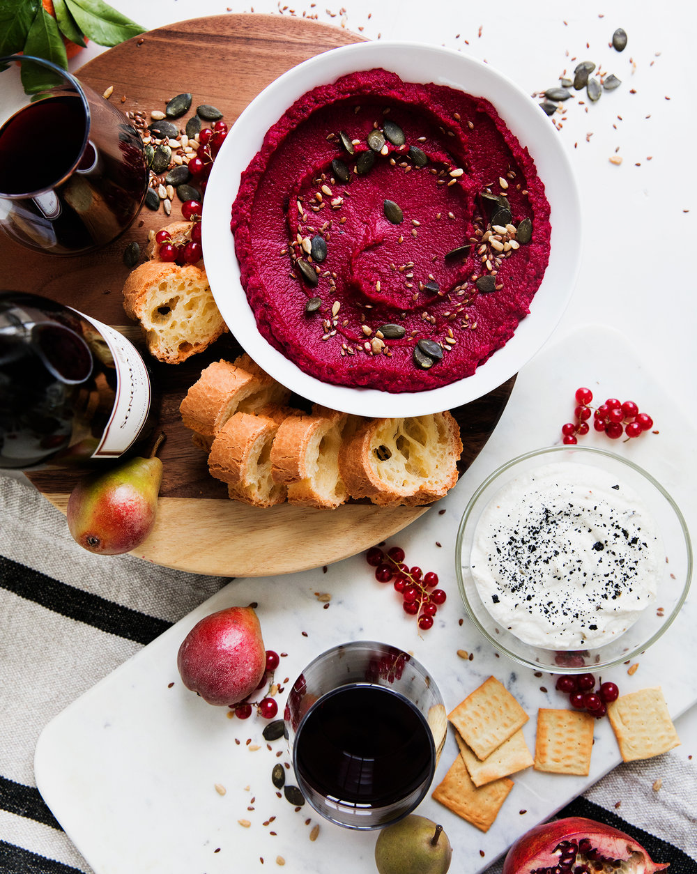 Roasted Beet Hummus with Seeds + Honey Ricotta Dip