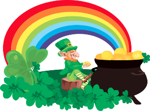 Irish Leprechaun's Pot-O-Gold at the end of the Rainbow.