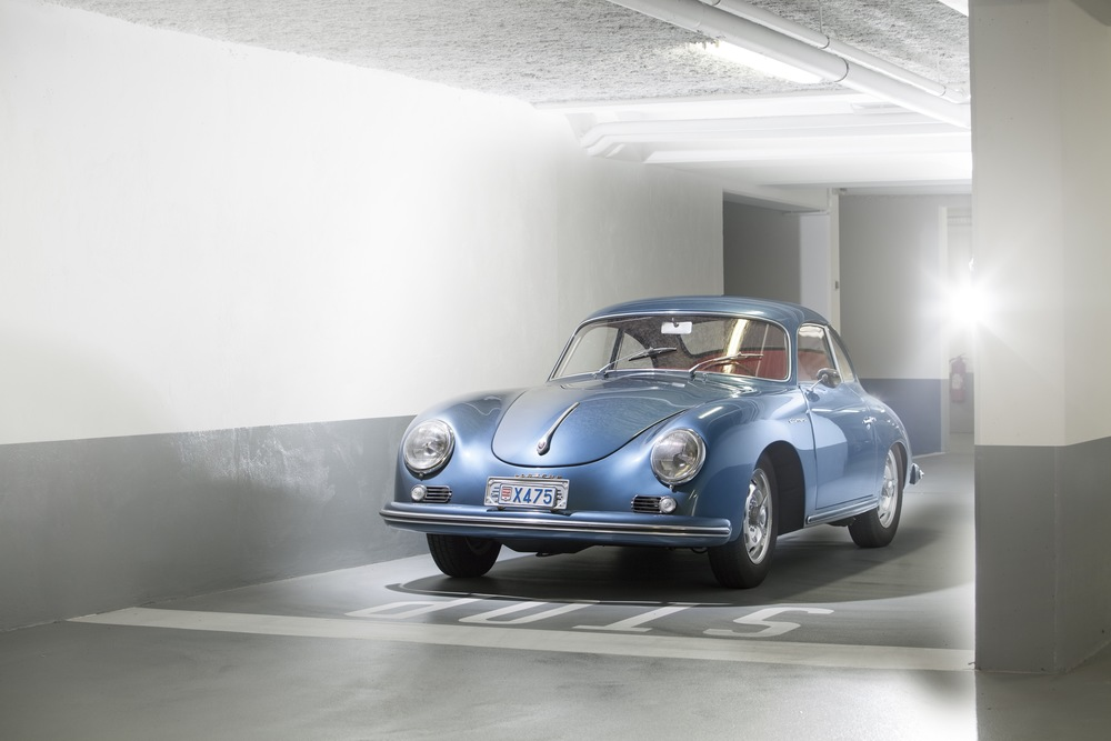 1956 Porsche 356A Carrera 1500 GS Coupe A beautiful example of an iconic car; creative lighting techniques and a freshly refurbished underground car park made for a studio-like look to this set.