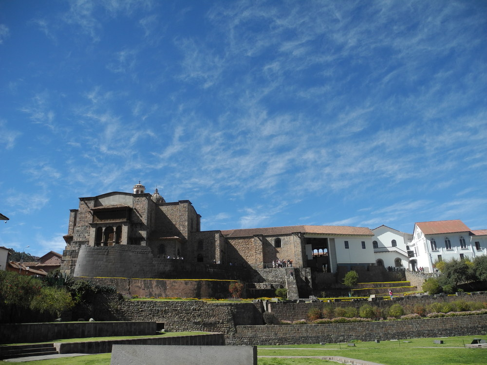 Blue skies over Coricancha, the Incan sacred site turned cathedral in Cuzco