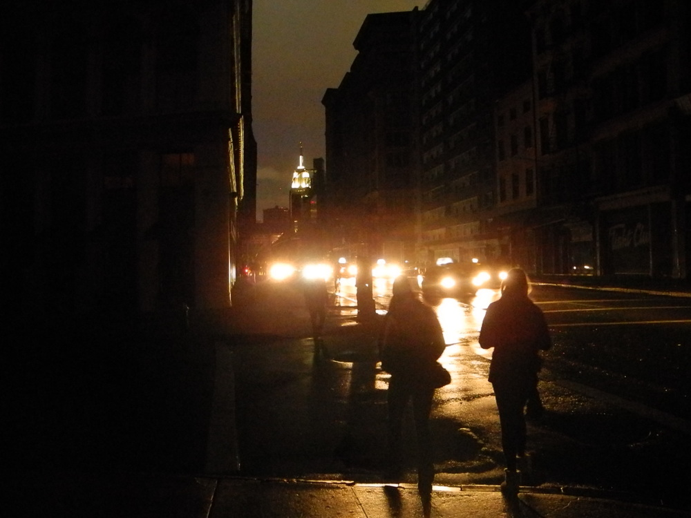 Utter darkness along Broadway, looking north to the Empire State Building