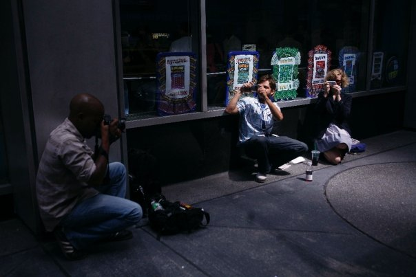 A weary stakeout between the New York Post (me) and the Daily News (them): Photo by Allison Joyce