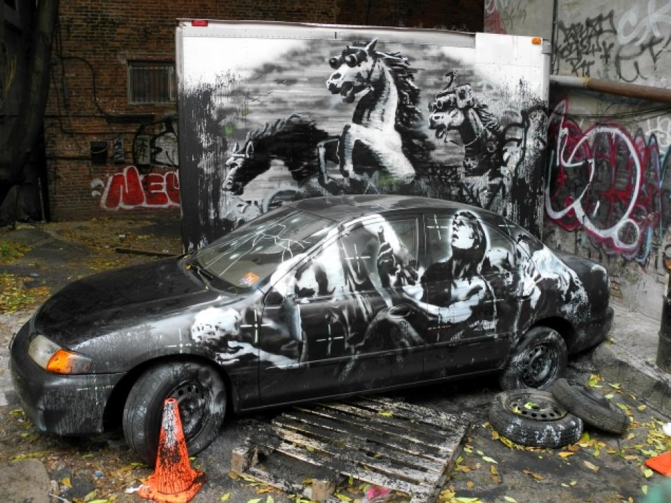 Banksy's display on the Lower East Side, October 2013. (Beth Stebner/New York Daily News)