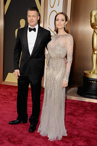 Brad Pitt in Tom Ford and Angelina Jolie in Elie Saab
