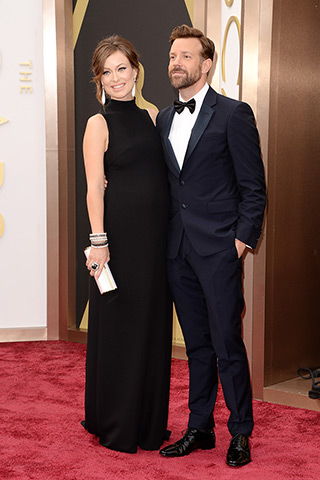 Olivia Wilde in Valentino and Jason Sudeikis in Prada