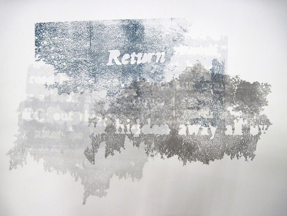"""Kept, 525 North Shore Road  ( paper print ) silkscreen, 24"""" x 18"""", 2011"""
