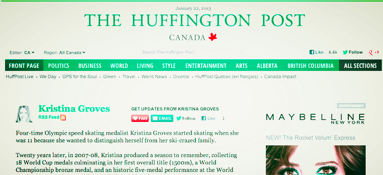 Huffington Post Canada Kristina Groves Writer, Professional Speaker, Olympic Medalist, Performance Specialist.jpg