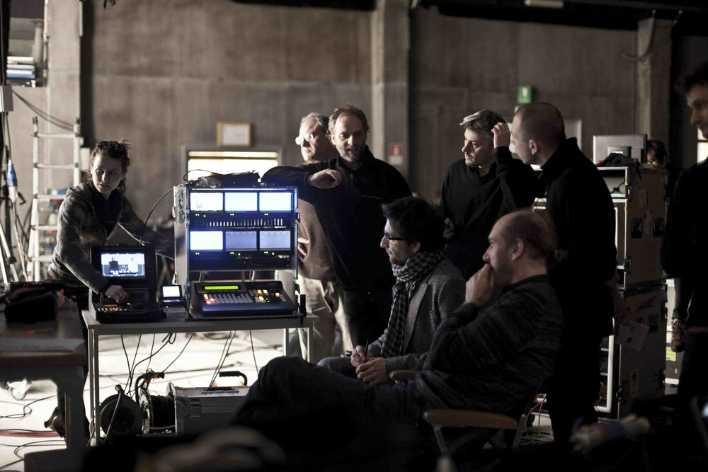 Director Bruno Miotto and his crew on set in Milan, Italy.