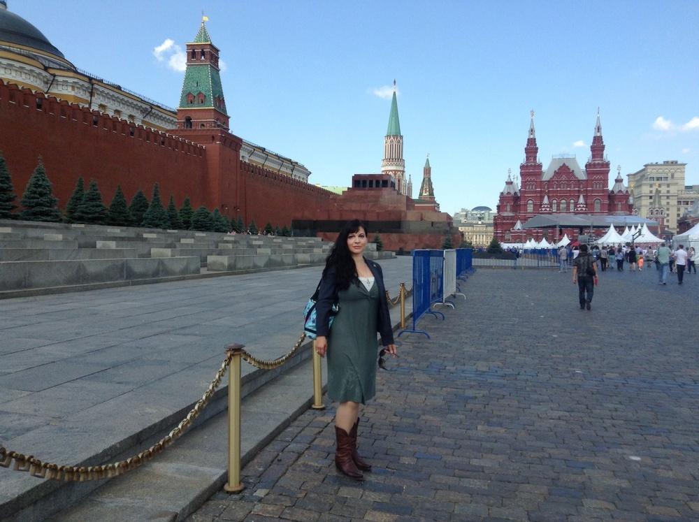Between St. Basil Cathedral and the mausoleum at the Red Square
