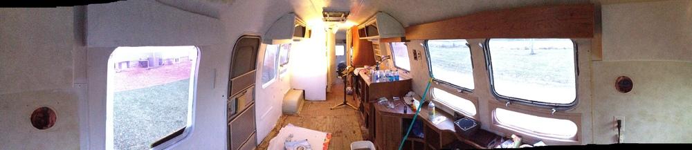 Airstream painting in progress.