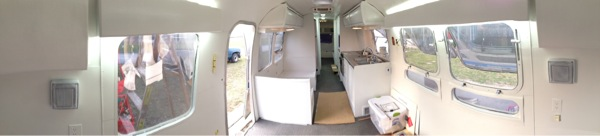 A panorama of the Airstream at the beginning of April.