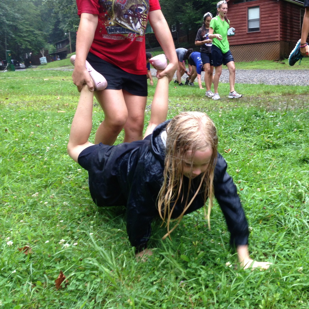 Trinity playing in the messy games.  Photo by Dylan Himmerich